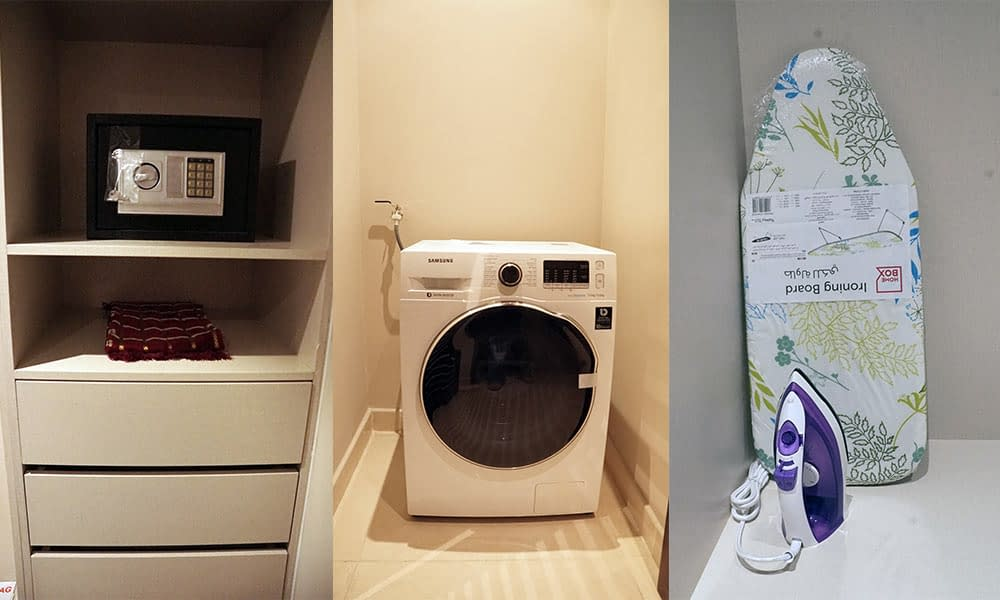 Personal Iron & Iron Board, Washing Machine and Prayer Mat & Electronic Safe (All Room types)